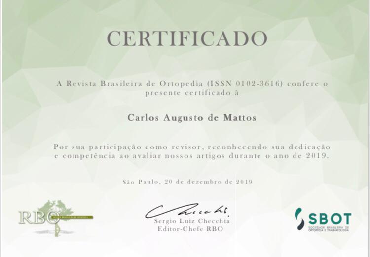 Certificado de participação na RBO